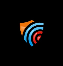 shield radar protection technology logo vector image