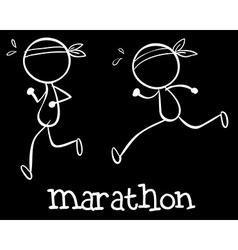 Simple marathon doodle vector