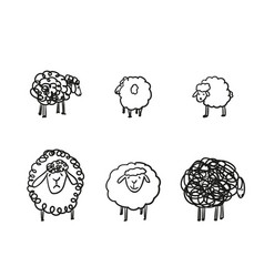Simple sketch different sheeps pen hand vector