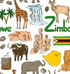sketch zimbabwe seamless pattern vector image