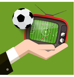 soccer match on retro tv football game design vector image