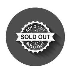 Sold out grunge rubber stamp with long shadow vector