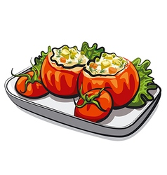 Stuffed tomatoes vector