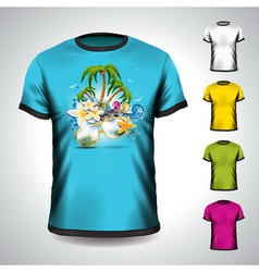 T-shirt set on a summer holiday theme vector