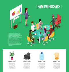 Team workspace isometric 3d poster vector