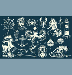 Vintage maritime and nautical elements collection vector