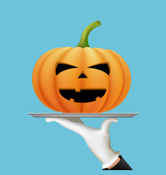 waiter holding a tray with a halloween pumpkin vector image