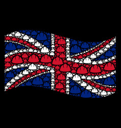 waving great britain flag collage of safety helmet vector image