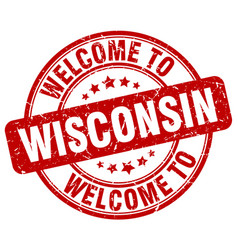 Welcome to wisconsin red round vintage stamp vector