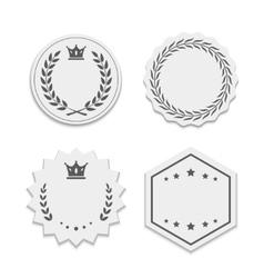 White paper labels with wreaths and crowns vector