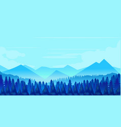 winter mountains landscape with pines and hills vector image