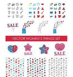 woman accessories icons set of cosmetics clothes vector image