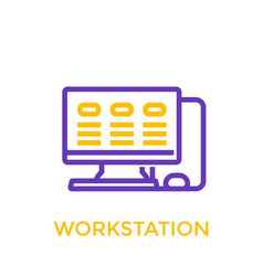 Workstation icon linear style vector
