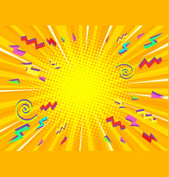 yellow pop art background vector image
