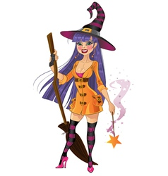 Young witch with magic wand and broom vector