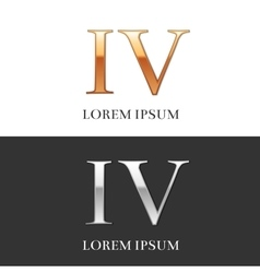 4 IV Luxury Gold and Silver Roman numerals sign vector image vector image