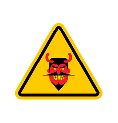 attention devil dangers of yellow road sign satan vector image vector image