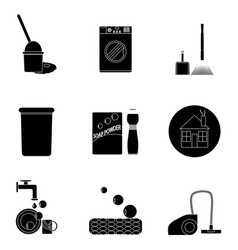 clean up black set icons vector image