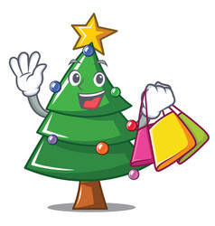 Shopping christmas tree character cartoon vector