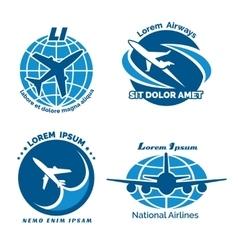 Aircraft logo emblems set vector