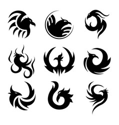 black tattoo template of phoenix isolated vector image vector image