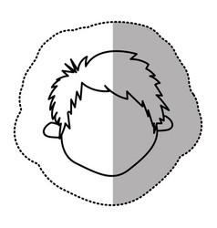 contour sticker face boy icon vector image vector image