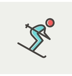 Downhill skiing thin line icon vector image