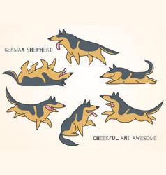 funny cute cartoon german shepherd dogs vector image vector image