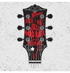 Guitar head and lettering vector image vector image
