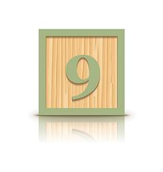 Number 9 wooden alphabet block vector