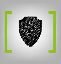 shield sign black scribble vector image vector image