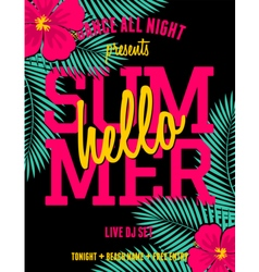 summer party palm leaves and hibiscus flyer design vector image vector image