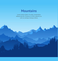 cartoon mountains and forest landscape background vector image vector image