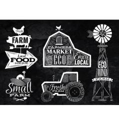 Farm vintage chalk vector image vector image