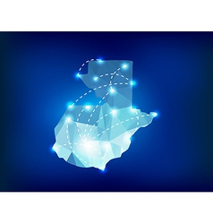 Guatemala country map polygonal with spot lights vector image