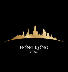 hong kong china city skyline silhouette black vector image