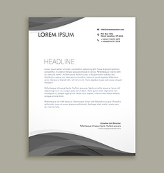 modern letterhead design with black wave vector image