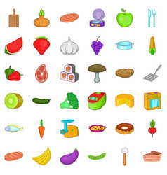 restaurant icons set cartoon style vector image vector image