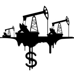 silhouette pumpjack and oil with the dollar vector image vector image