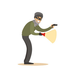 Thief in a black mask on the eyes with flashlight vector