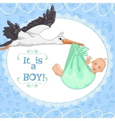 Baby greetings card with stork and baby boy eps10 vector image vector image