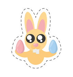 Cute bunny with easter eggs - cut line vector