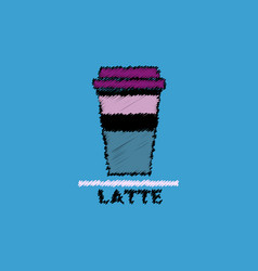 Flat icon design collection latte to go vector