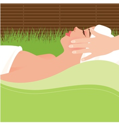 Girl doing massage in the spa salon vector image vector image