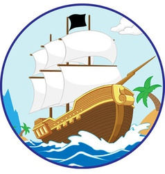 Pirate Ship on the Shore circle frame vector image