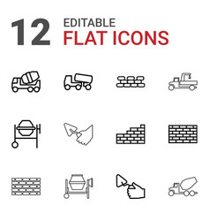 12 cement icons vector image