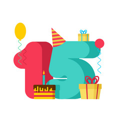 15 year birthday sign 15th template greeting card vector