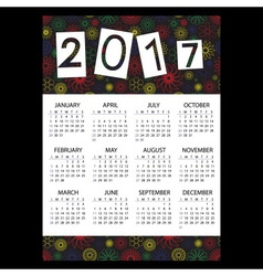 2017 simple business wall calendar with outline vector image