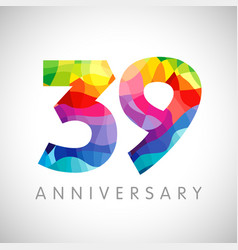 39 anniversary colorful facet logo vector