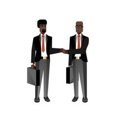 african businessmen in business suits handshaking vector image